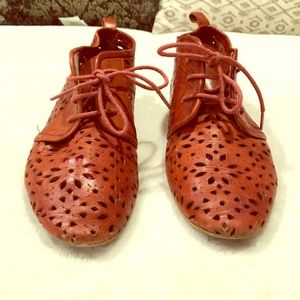{Anthropologie} Burnt Red Cutout Booties